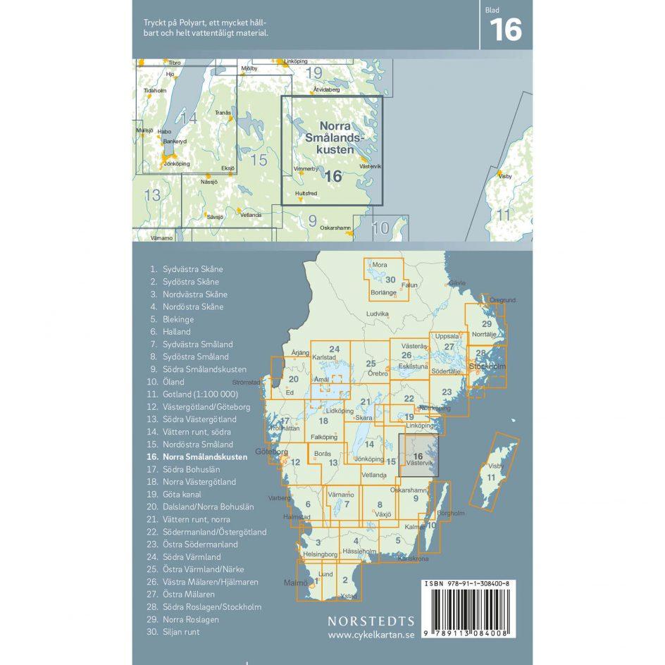 Bicycle map 16 Northern Småland coast back