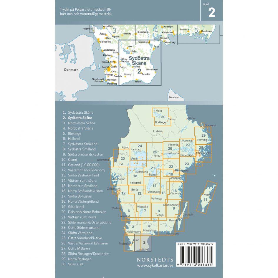 Bicycle map 2 Southeast Skåne back