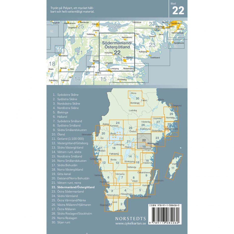 Cykelkarta 22 Södermanland Östergotland baksida