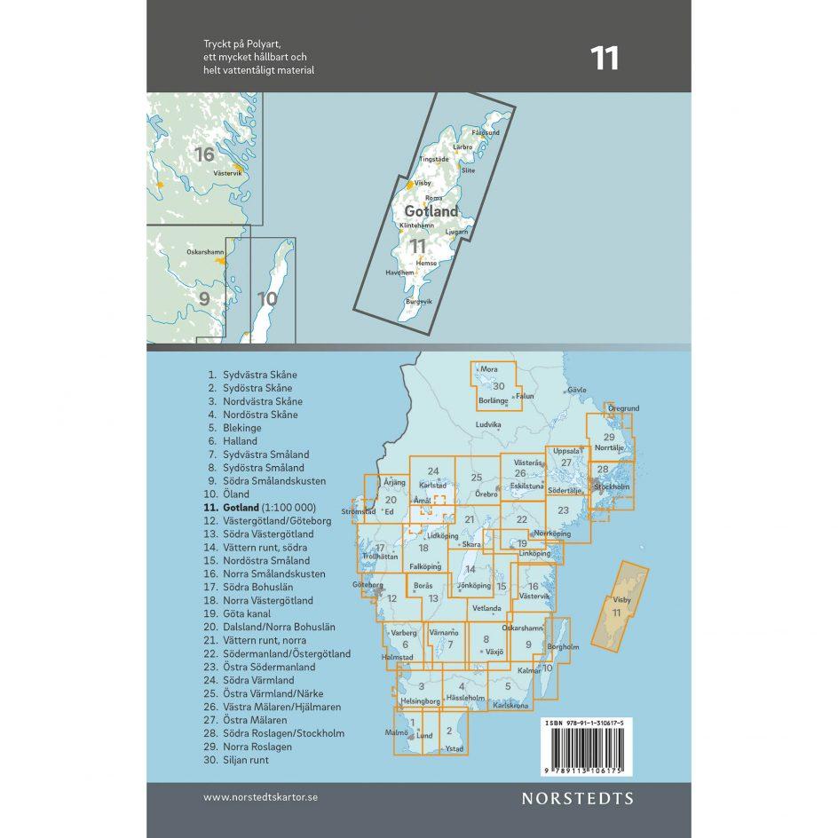 Bicycle map 11 Gotland back