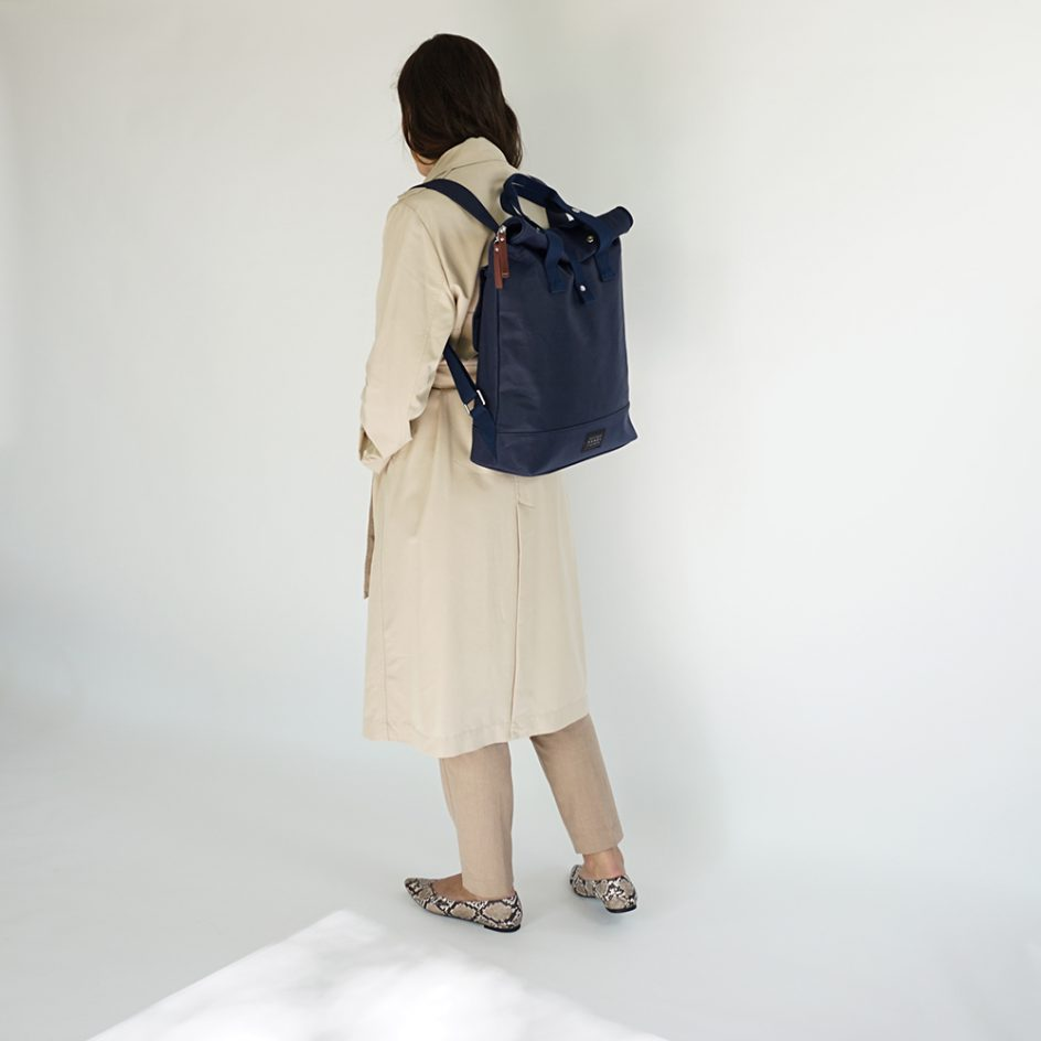 City Backpack Navy bicycle rear side