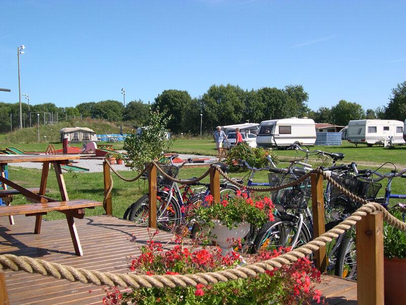 Hälleviks camping terrass och cyklar
